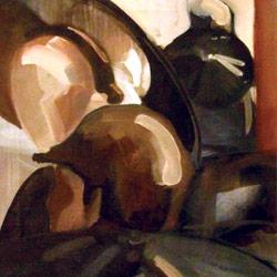 Deštníky v Ostravě, olej na plátně, 75x40cm, neprodejné