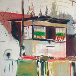 Budka v Haji ve Slesku, olej na plátně, 120x100cm, 10 000Kč, prodáno