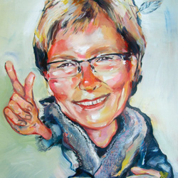 Teta – karikatura, olej na plátně 60x40cm,prodáno
