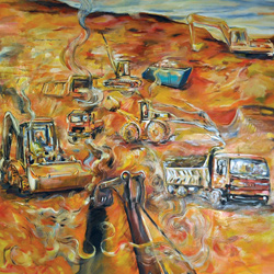 Bagry, olej na plátně, 140x140cm 12 000Kčprodáno