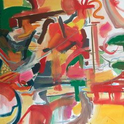 Dvouplošník, olej na plátně, 130x130cm, 5 000Kč, prodáno