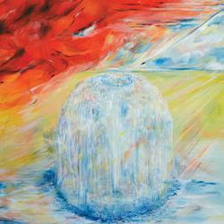 Fontána, olej na plátně, 90x60cm, prodáno