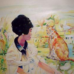Kráska a Zvíře, olej na plátně, 120x90cm, 15 000Kč, prodáno