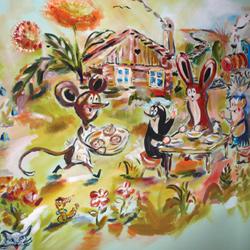 Dětské ilustrace, akryl na stěně, 300x200cm 6 000Kč variabilní cena dle rozměrů