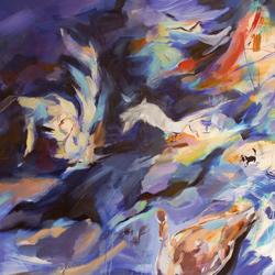 Labutě, olej na plátně 140x140cm, 22 000Kč, prodáno