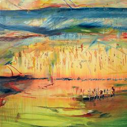 Obilí, olej na plátně, 30x15cm,prodáno