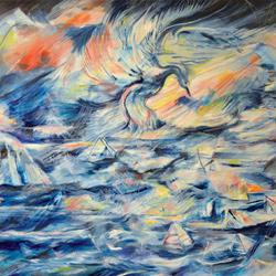 Pták s velrybou, olej na plátně20x15cm 4 000Kč, prodáno