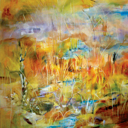 Rákosí, olej na plátně, 20x120cm, 14 000Kč, prodáno