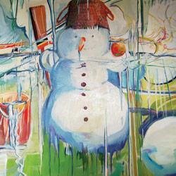 Sněhulák, olej na plátně, 105x105cm, 20 000Kč